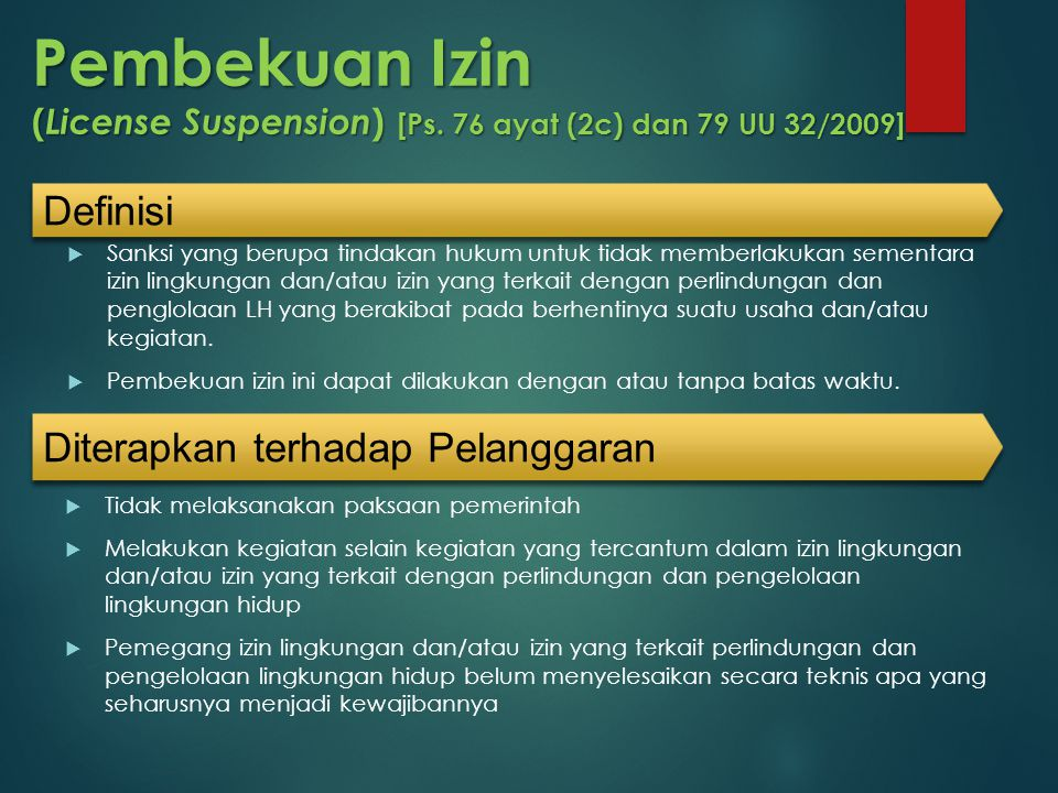 Pembekuan Izin (License Suspension) [Ps